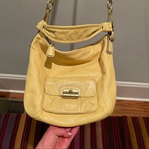 Canary Colored Dual Coach Bag Carried/Shoulder